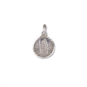 Sterling silver Extra small round st christopher pendant with Diamond cut edges